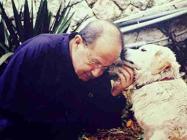 Lebanese president with his dog