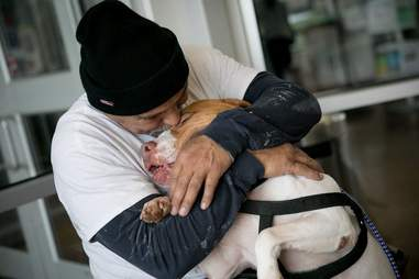 Man reuniting with his pit bull dog