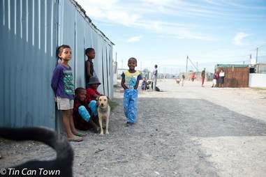 Children in poor town in South Africa