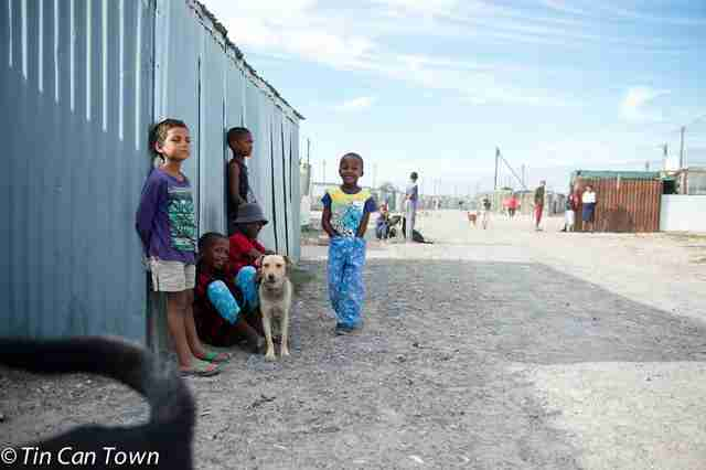Children in poor town in South Africa