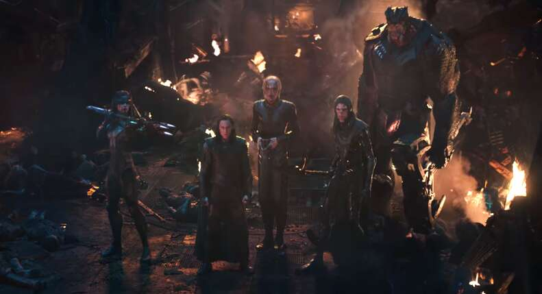 thanos black order and loki in infinity war