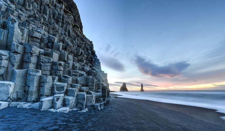 Reynisfjara Beach at sunrise, Halsanefhellir, Iceland