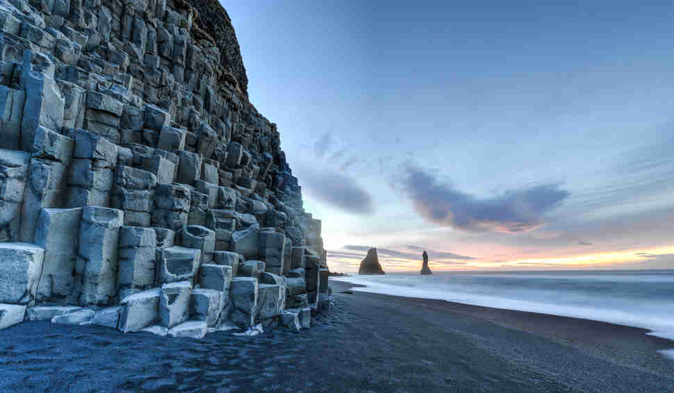 Reynisfjara Beach at sunrise, Halsanefhellir, Iceland