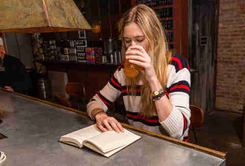 reading in a bar
