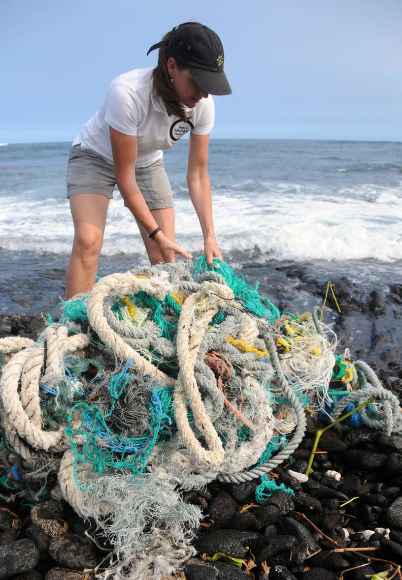 Woman collecting ghost nets from beach