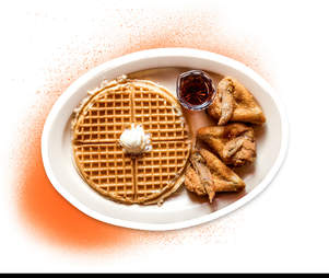 chicken and waffles from Roscoes