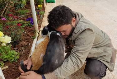 Man hugging cats at sanctuary