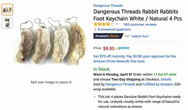 rabbit feet amazon