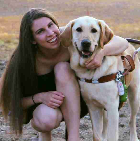 Danielle Sykora and her seeing eye dog Thai