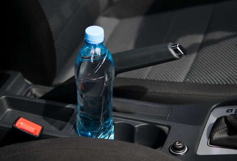 water bottle in car