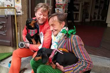 Josef Küblbeck and Oliver Storz with their pet dachshunds