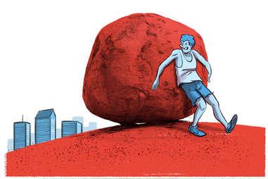 person pushing a boulder near a city