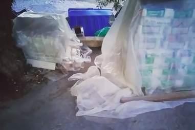 The hotel garbage bins