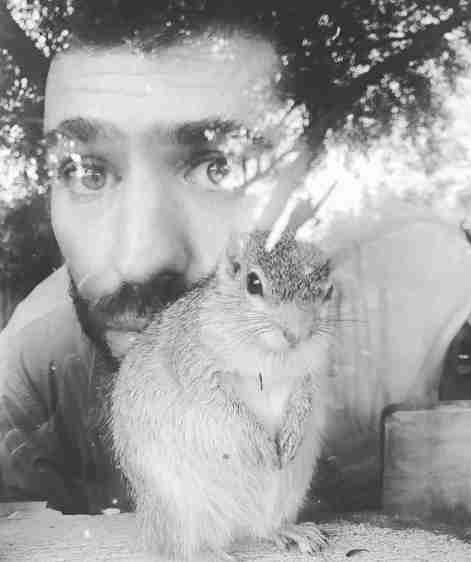 Squirrel with rescuer