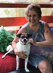 Brus the dog and Carol Hosley