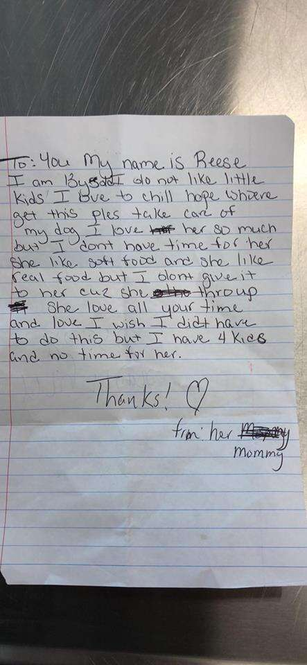Handwritten note from former dog owner