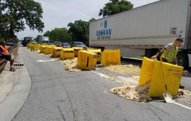 Truck Spills 20 Giant Tubs of Cookie Dough, Turns Highway Into World's Saddest Cookie