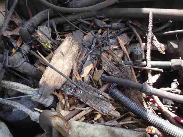 A car engine covered in sticks and twigs