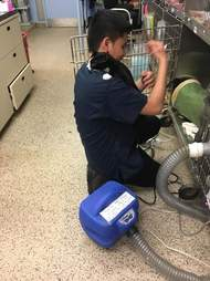 Boy cleaning cat cage being hugged by cat