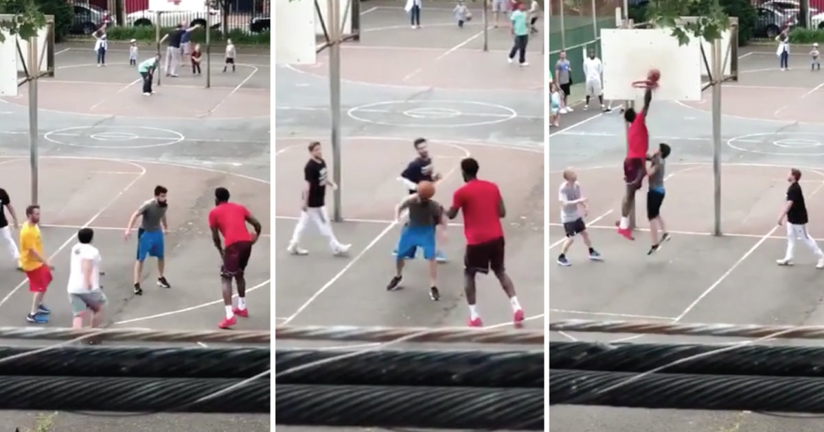 ed802db2f Joel Embiid Joins Pickup Basketball Game   Bounces Ball of Guy s Head -  Thrillist