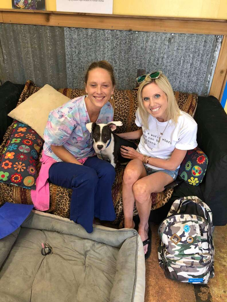 Two women with rescue dog