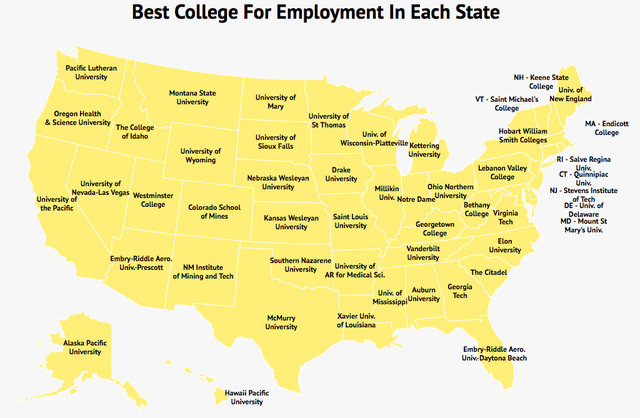 Map Of Georgia Universities.College Most Likely To Land You A Job In Every State Thrillist