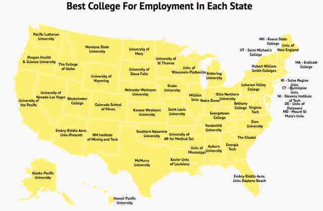 Colleges In New England >> College Most Likely To Land You A Job In Every State Thrillist