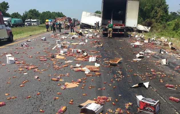 Huge Truck Crash Spills Fireball Whisky, Turns Highway Into Cinnamon Nightmare
