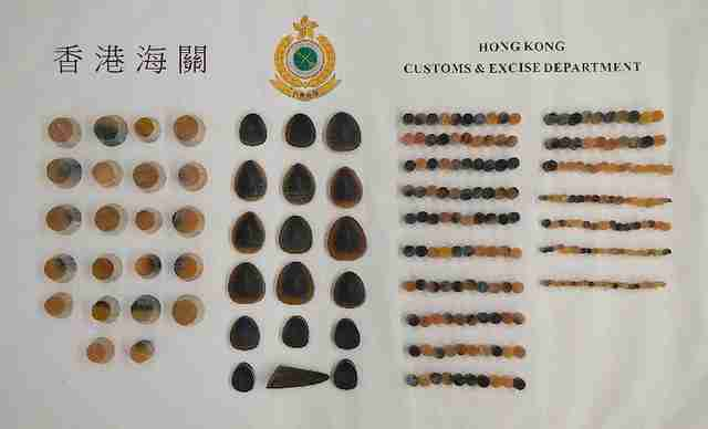 Pieces of rhino horn seized at Hong Kong International airport