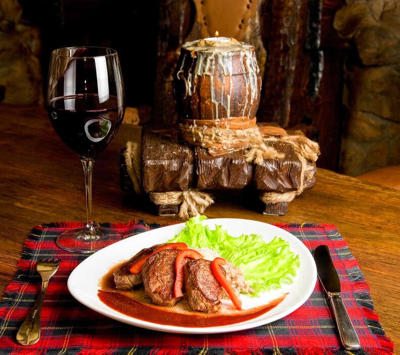 Sangiovese Italian wine with dinner