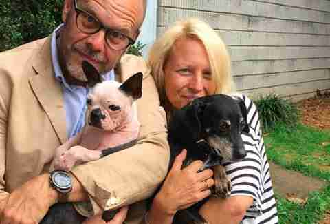Alton Brown and his newly adopted dog Abigail