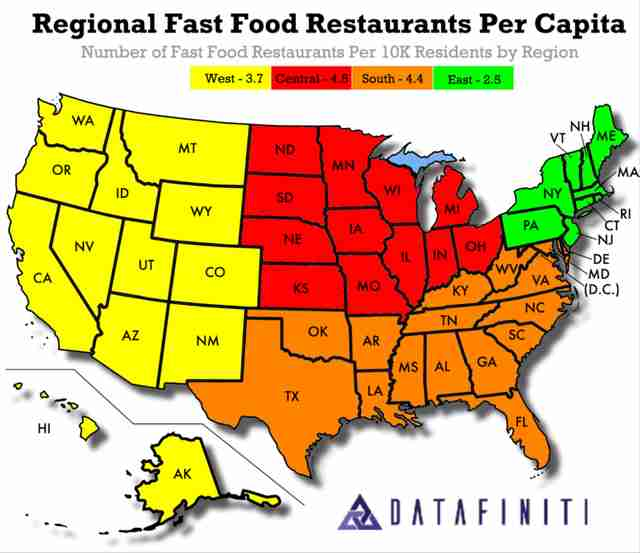 States With the Most Fast Food Restaurants Per Capita ...