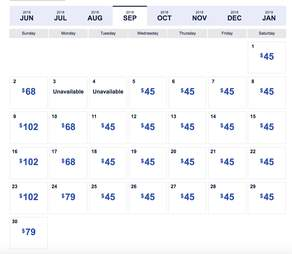 southwest low fare calendar
