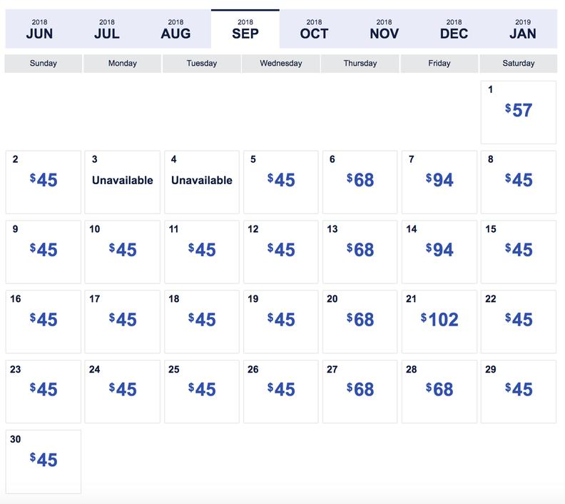 Southwest Low Fare Calendar: Four Day Sale Has $45 Flights   Thrillist