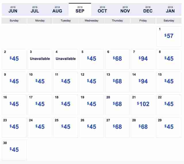 Sju Calendar.Southwest Low Fare Calendar Four Day Sale Has 45 Flights Thrillist