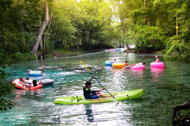 kayaker tubing
