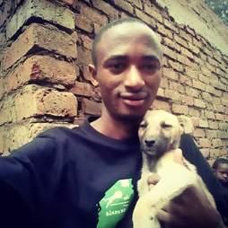 Man holding stray puppy
