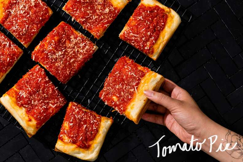 tomato pie, square slices