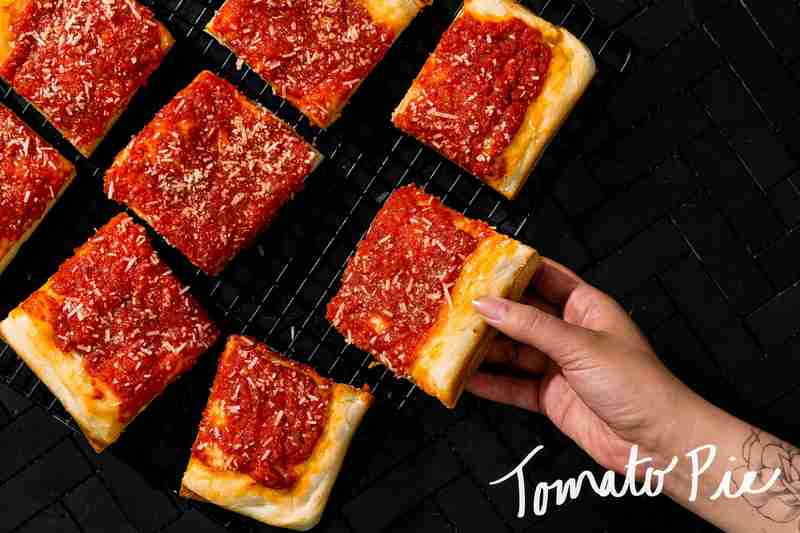 tomato pie, square slices