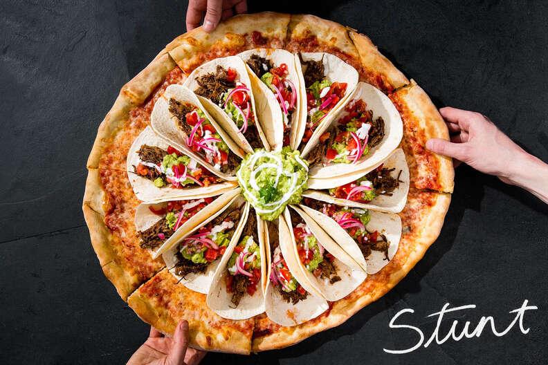 stunt pizza, taco pizza, guac