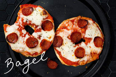 bagel pizza with pepperoni