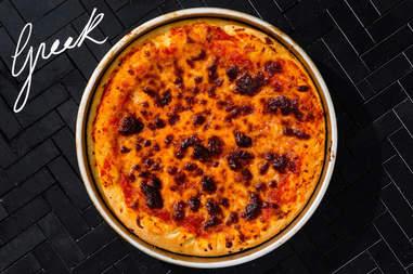 Greek pizza from Massachusetts