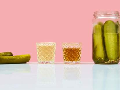 thrillist supercall pickle back shot pickleback pickles bourbon whisky whiskey bar drinks shooters cocktail cocktails