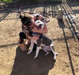 Lucy Fraustro kisses Dodger the pit bull