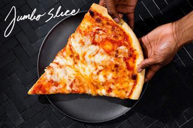jumbo slice of NYC pizza, huge pizza