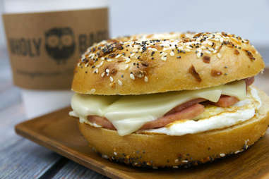 Everything bagel sandwich and coffee