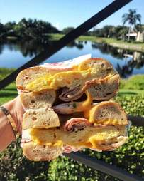 Egg and cheese bagel sandwich