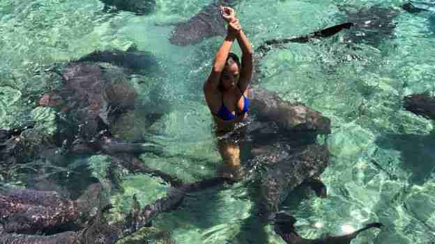 Woman standing water with sharks