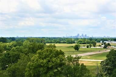 Cahokia Mounds St. Louis skyline view