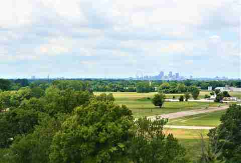 Cahokia Mounds St. Louis skyline view